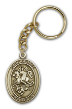 Brass Oxidized Antique Gold St. George Keychain 1 7/8 x 1 1/4 inch - $18.00
