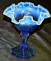 Opaque blue Fenton Compote AA20-CD0101 Vintage - $59.95