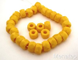 25 6 x 4mm Czech Glass Facetted Crow Beads: Opaque Yellow - $2.41