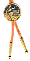J & J Coin Jewelry Bolo Tie /Detailed Gold & Silver Bahamas 50¢ Blue Marlin - $102.95