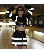 Sexy Reflective Striped Patchwork Hoodies Set Crops Causal Tops & High W... - $27.18