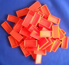 Pressman Domino Rally Replacement Extra Pieces Parts Tiles Neon Orange 50 - $7.99