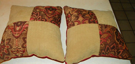 Pair of Gold Beige Persimmon Abstract Print Throw Pillows  18 x 18 - $59.95
