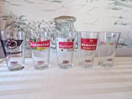 Lot of 5 Budweiser Retro Beer Pint Glasses 1936/47/55/57/63 - $24.75