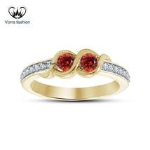 14k Yellow Gold Plated 925 Silver Round Cut Red Garnet Engagement Weddin... - £50.85 GBP
