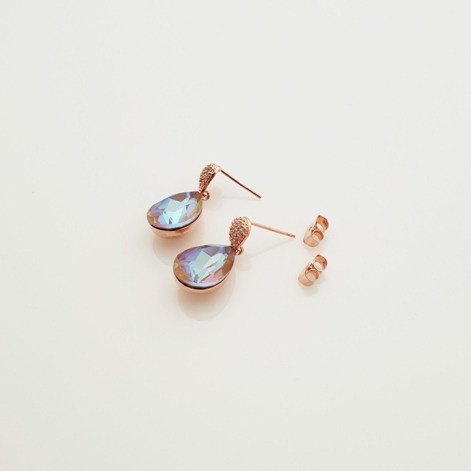 Water Drop Aurora Borealis Made With Swarovski Stone Dangle Earrings 925 Silver image 4