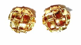 Bright Gold tone Textured Vintage Earrings - $11.39