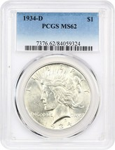 1934-D $1 PCGS MS62 - Peace Silver Dollar - $203.70