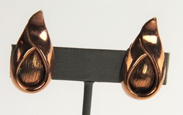 VINTAGE Jewelry RENOIR SIGNED MID CENTURY COPPER MODERNIST CLIP EARRINGS - $15.00