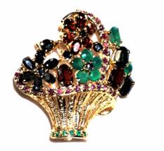 Gold Tone Emerald Fruit Salad Flower Basket Rhinestone Brooch Vintage - $62.14