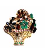 Gold Tone Emerald Fruit Salad Flower Basket Rhinestone Brooch Vintage - $55.48