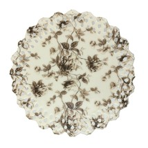 Peppertree Tabletops Brown Rose Toile Cake Stand Reticulated Open Lace Edge - $27.71