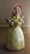Vintage Porcelain Woman Pink Bonnet w/ Parasol Figurine Bell - $12.30