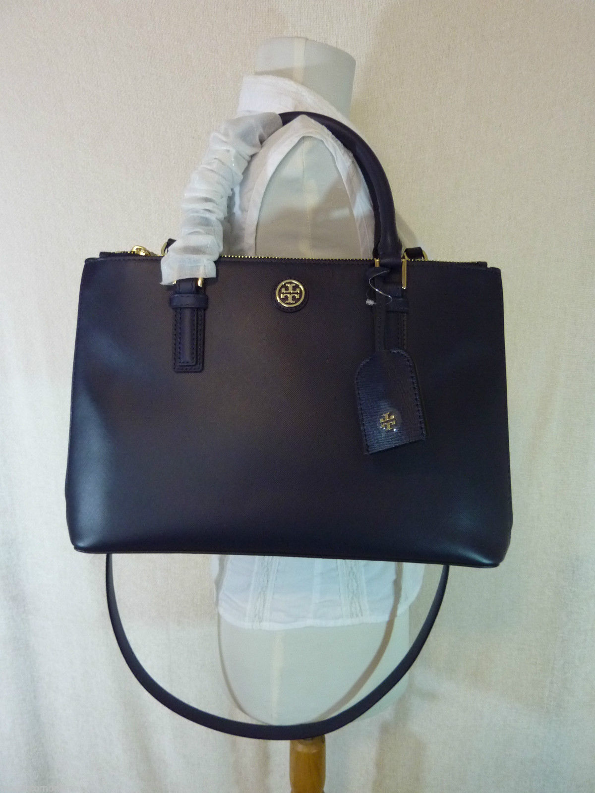 Tory Burch Navy Blue Saffiano Leather Robinson Mini Double-Zip Tote $495