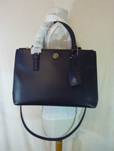 Tory Burch Navy Blue Saffiano Leather Robinson Mini Double-Zip Tote $495 image 1