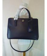 Tory Burch Navy Blue Saffiano Leather Robinson Mini Double-Zip Tote $495 - $443.52
