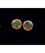 Octagon Butterfly Enameled Pierced Earrings - $5.00