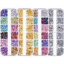 4 Boxes Nail Rhinestones kit Multi-size Gems Metal Nail Rivets Studs