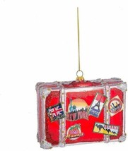 Travel Suitcase Glass Ornament Paris NY London Australia Hawaii Venice S... - $9.95