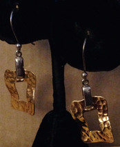 Vintage Crafted 1980s Hammered 525 Gold Open Rectangle Dangles Pierced Earrings - $61.91