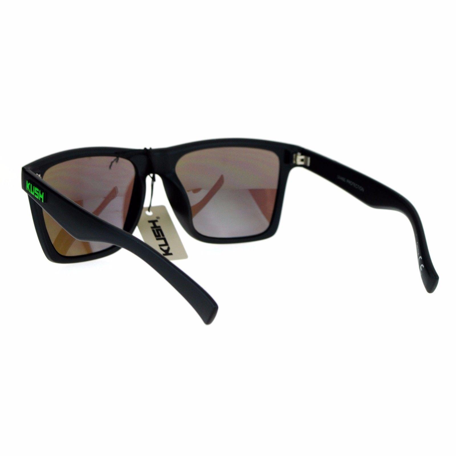 KUSH Sunglasses Square Rectangular Matte Black Mirror Lens UV 400