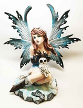 Gifts & Decor Large Beautiful Woodland Fairy with Snow Baby OWL Sculpture Figuri - $69.99
