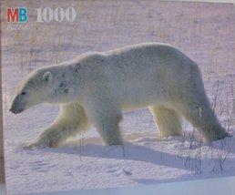 Polar Bear on snow 1000 piece Puzzle Nature Series Puzzle by Milton Bradley - $39.19