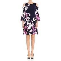 Ralph Lauren Dress Sz 14 Black Berry Pink Floral-Print Cold-Shoulder - $73.73