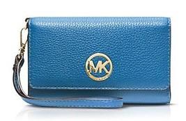 Michael Kors Fulton Multifunktionaler Phone Handgelenk Etui Leder blau - $106.91