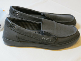Femmes Crocs Standard Ajusté Walu Toile Mocassin Glissière Chaussure W 6... - $32.13