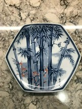 Vintage Made in Japan Bamboo Reeds & Blossoms Blue & White Hexagon Plate... - $86.85