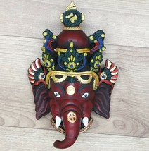 Ganesha Mask with Painting Work Wall hanging Art Sculpture wall Decor Re... - $46.75