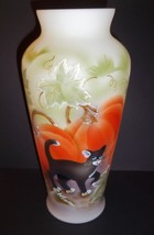 "Fenton Glass 10.5"" Halloween Pumpkin Prowler Black Cat Vase Ltd Ed #4/30 - $280.82"