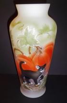 "Fenton Glass 10.5"" Halloween Pumpkin Prowler Black Cat Vase Ltd Ed #4/30 - $280.82"