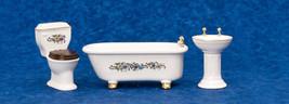 Dollhouse Miniature Bathoom 3pc Claw Foot Porcelain Bathroom Set - $23.75