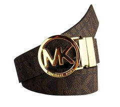 New Women's Michael Kors Reversible Circle MK Logo Belt Brown/Gold 551342