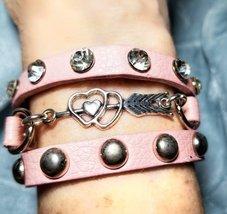Vintage wrap bracelet,  arrow bracelet,  bling wrap bracelet,  pink brac... - $9.99