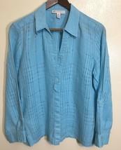 JM Collection Linen Open Weave Button Down Shirt Womens Petite Size 12P ... - $16.82