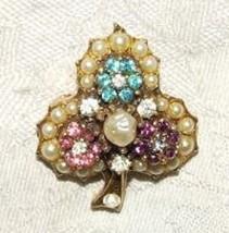 1940s Clover Leaf Trefoil Goldtone Costume PIN Faux Pearl Pink Purple Aq... - $35.00