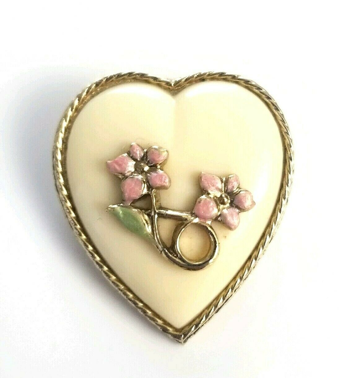 Primary image for Vintage 1928 Co. Floral Heart Brooch Pin Pink Enameled Flowers