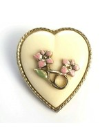 Vintage 1928 Co. Floral Heart Brooch Pin Pink Enameled Flowers - $16.78