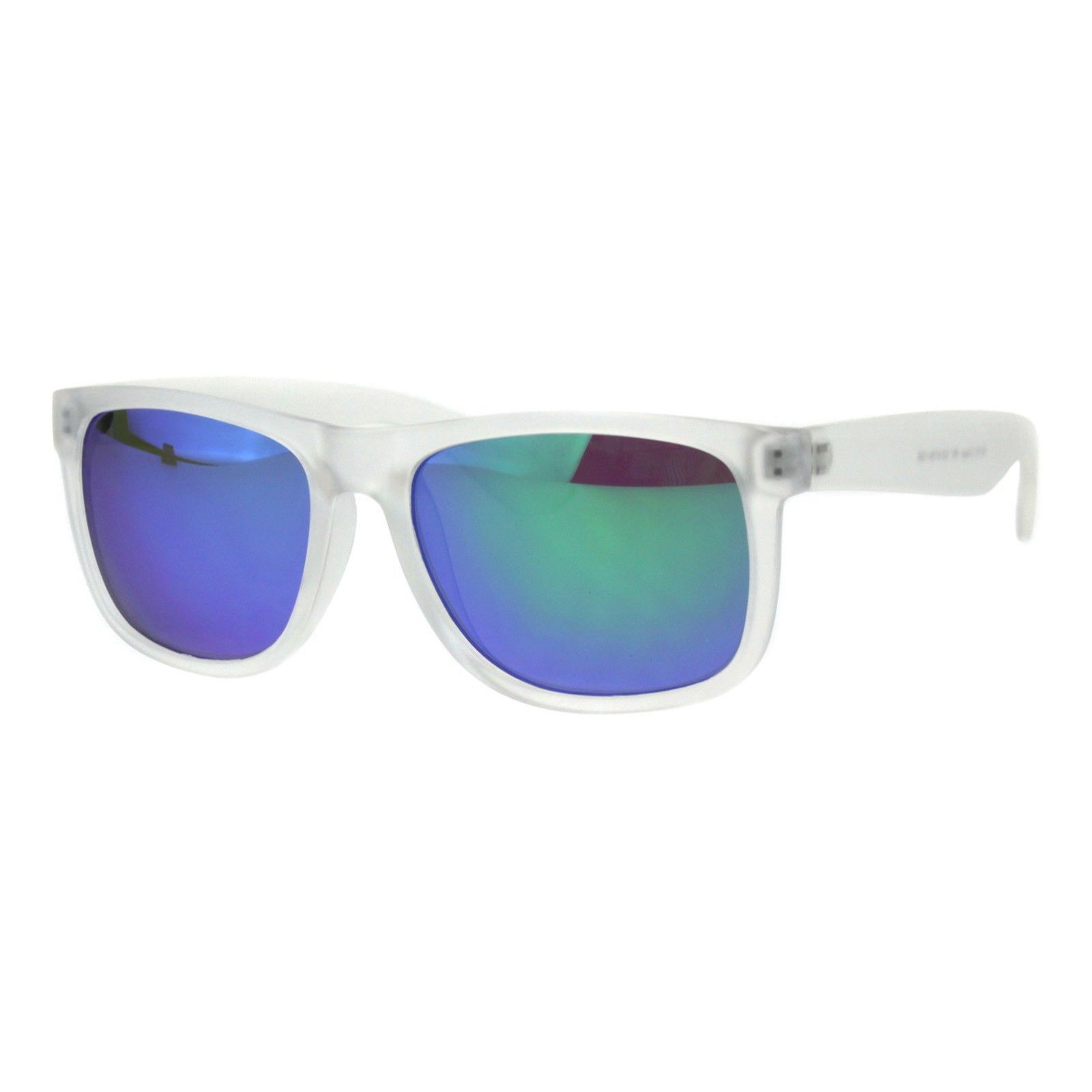 Unisex Summer Sunglasses Square Clear/Frost Frame Mirrored Lens UV 400