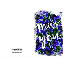 Blue and Green Pattern Miss You Card - with Custom Handwritten Message -... - $2.77