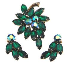 Vintage Juliana Leaf Brooch & Earrings Set Dark Green Rhinestone And AB - $39.95