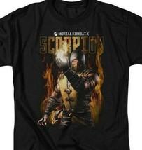 Mortal Combat X Scorpion fighting game Retro 90's graphic T-shirt WBM531 image 2