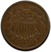 1867 Two 2 Cents Coin Lot# A 526