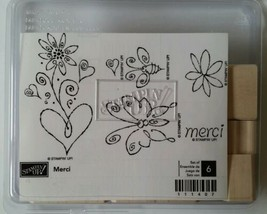 Stampin Up Merci Stamp Set Butterfly Bee Flowers Unmounted Wood - $14.95
