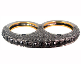 Natural 4.90ct BLACK Diamond Pave 14k Gold Double Finger Ring 925 Silver Jewelry - $1,144.60