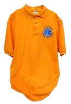S/S Polo Shirt 100% Cotton Medium EMT Star of Life Orange Embroidered New - $26.43
