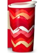 Starbucks Red Pink Gold Zig Zag Striped Tumbler 2014 Dot Collection 10 O... - $14.07